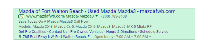 Mazda listing appears as a search result