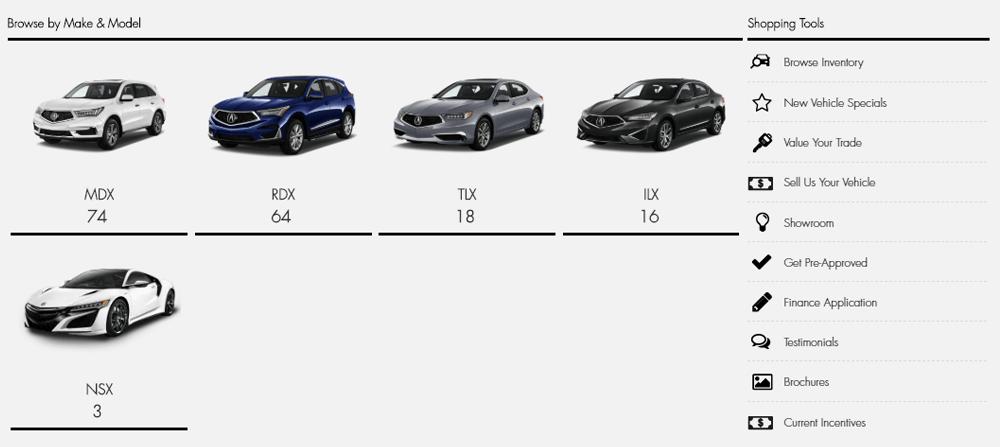 Mega Menu displays Acura cars from search