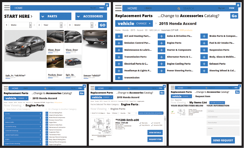 Parts Catalog screen