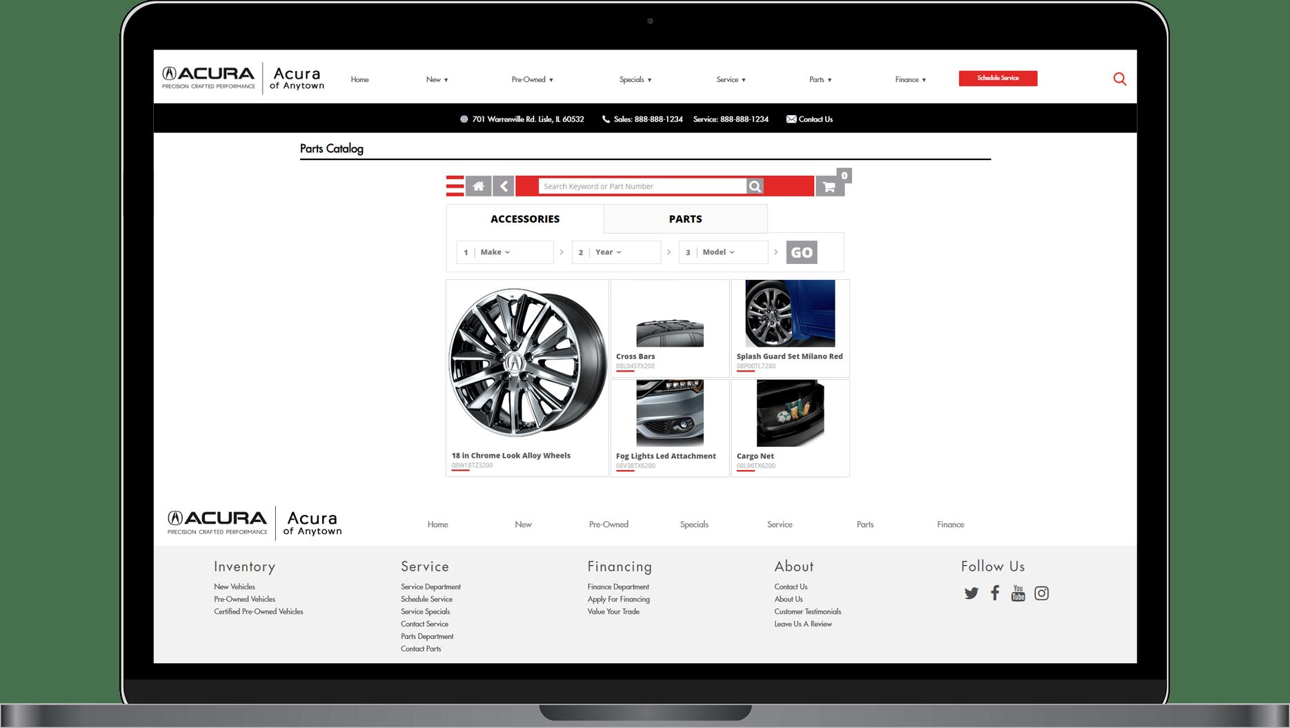 Parts Catalog on Acura website