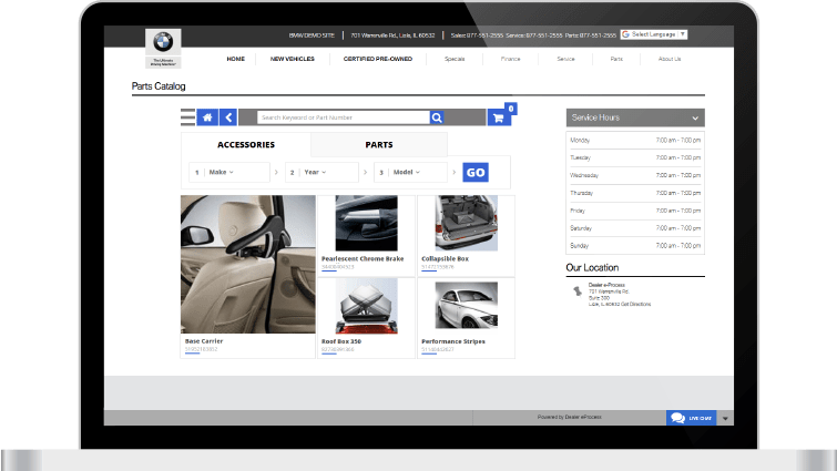 Parts Catalog screen on BMW website