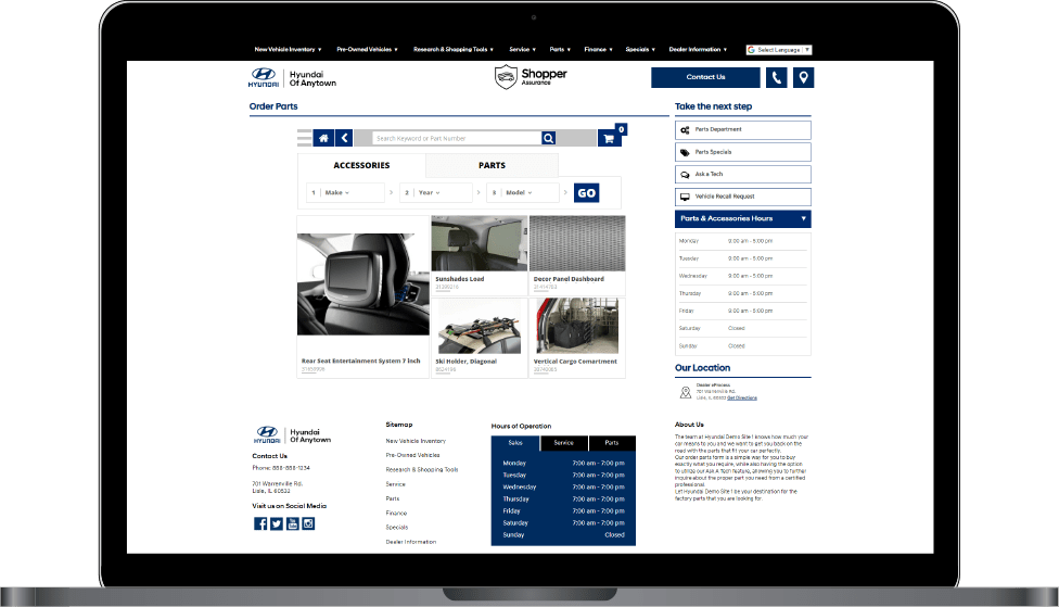 Parts Catalog screen on Hyundai website