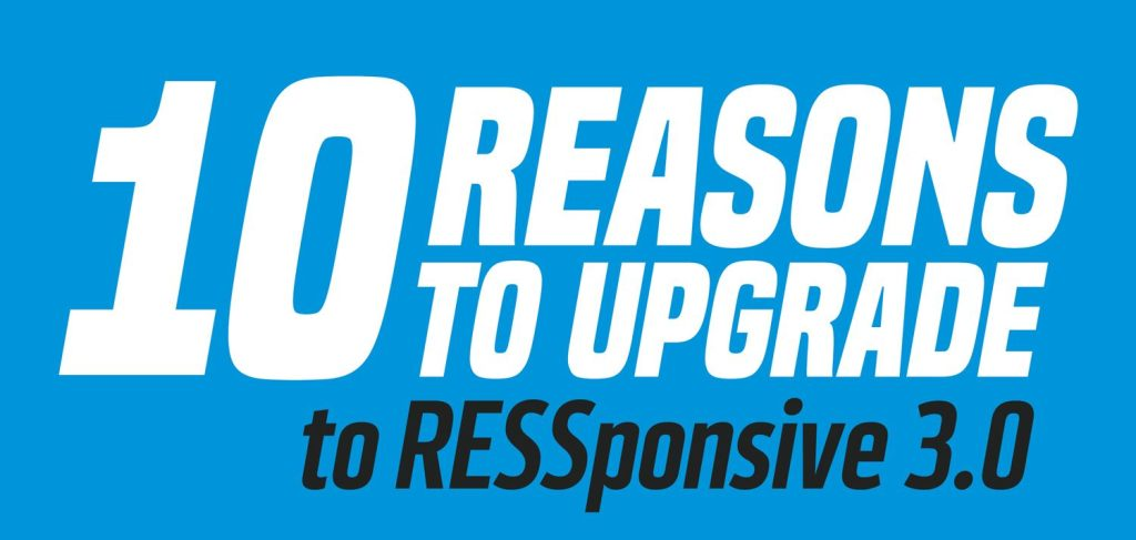 text image, 10 reasons to upgrade to RESSponsive 3.0. large text on blue background
