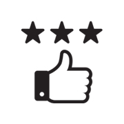 thumbs up icon with stars above