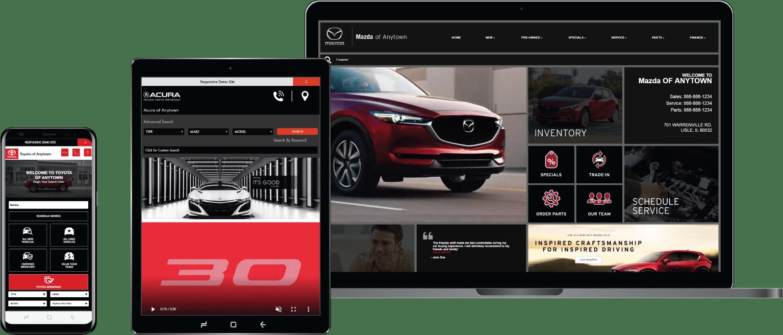 responsive dealer website on various device screens