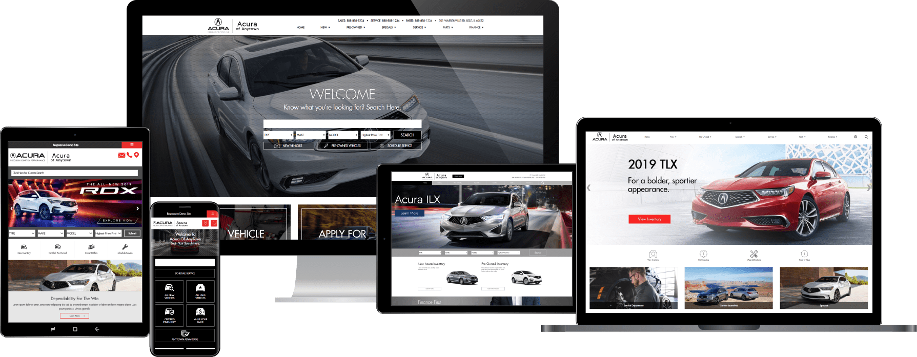 Acura dealer websites displayed on a variety of devices