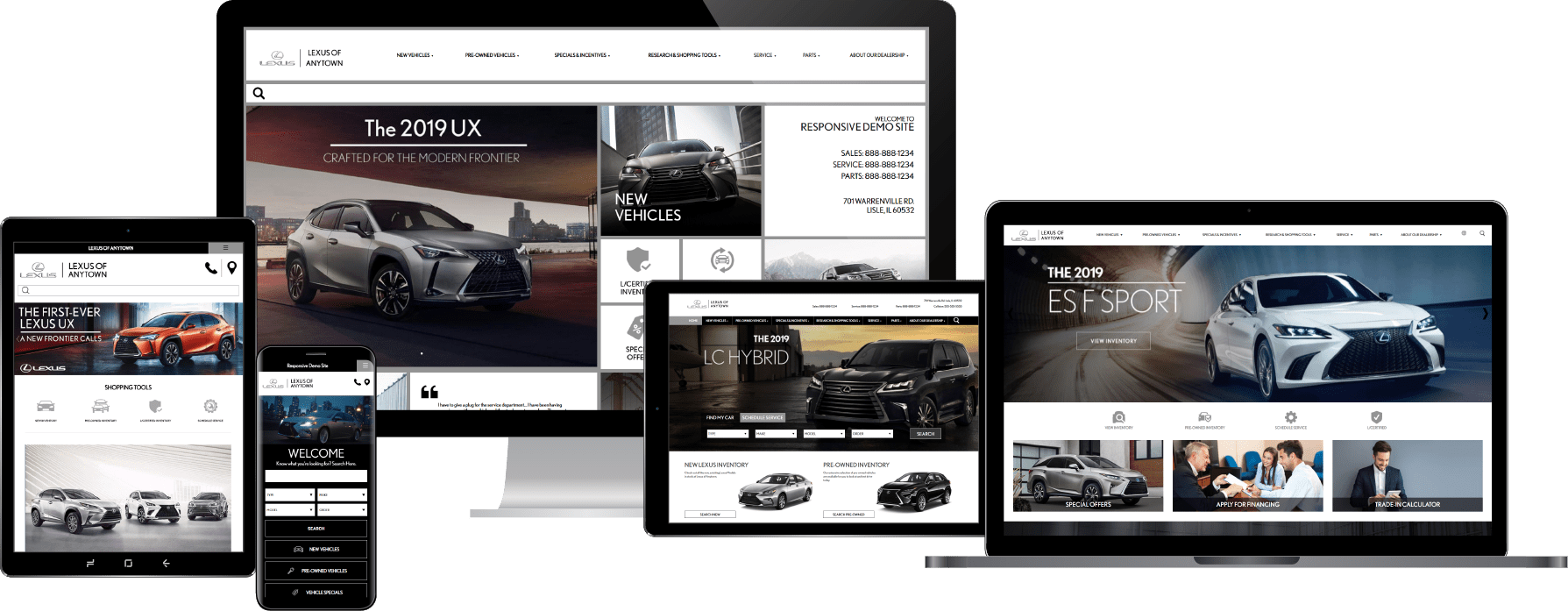 responsive Lexus dealer websites shown on various device screens