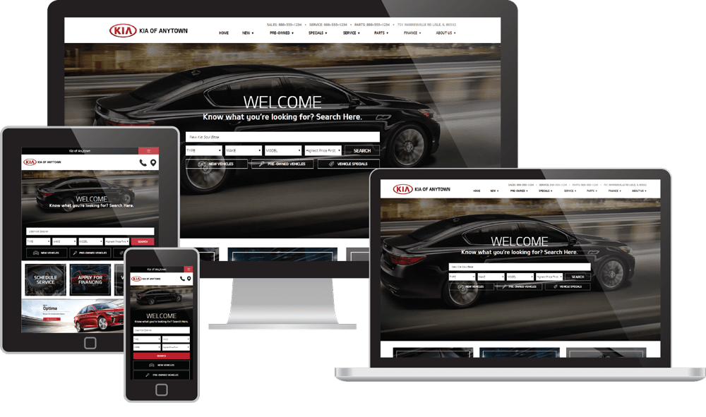 Responsive Websites displayed on several device screens