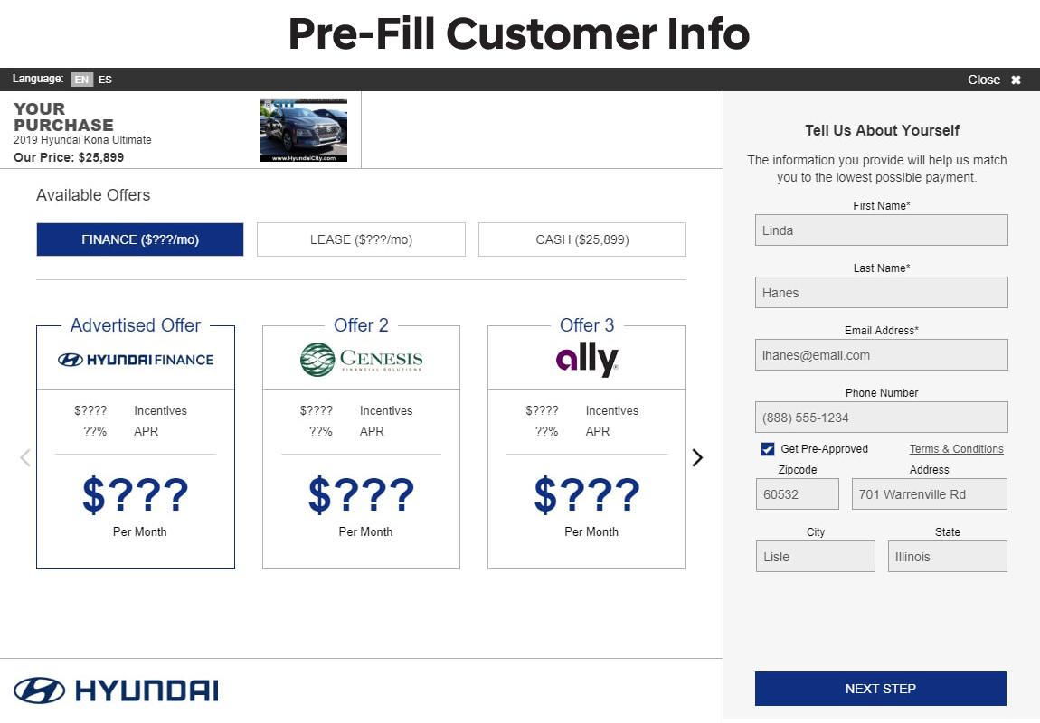 SARA Hyundai slide 1: pre fill customer information