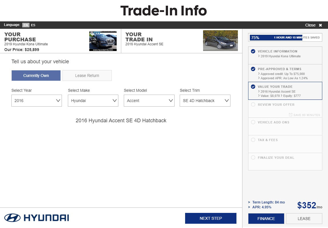 SARA Hyundai slide 3: trade-in information