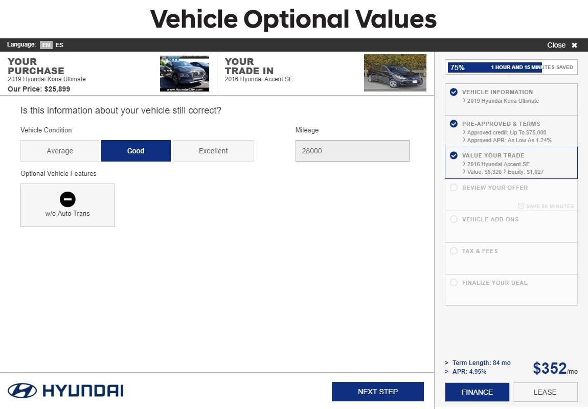 SARA Hyundai slide 4: vehicle optional values