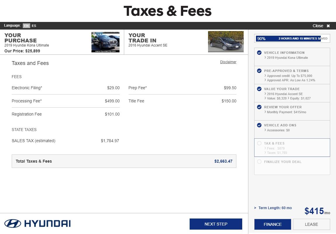 SARA Hyundai slide 9: taxes and fees