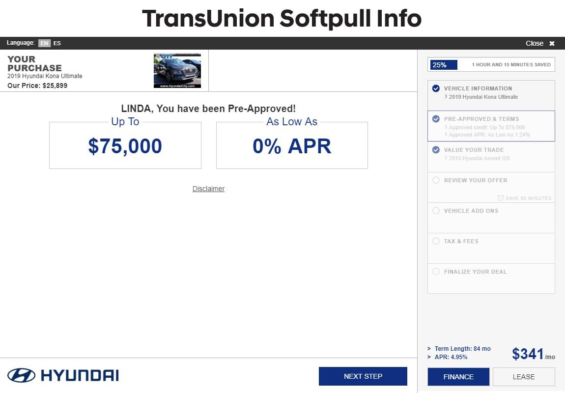 SARA Transunion softpull information screen