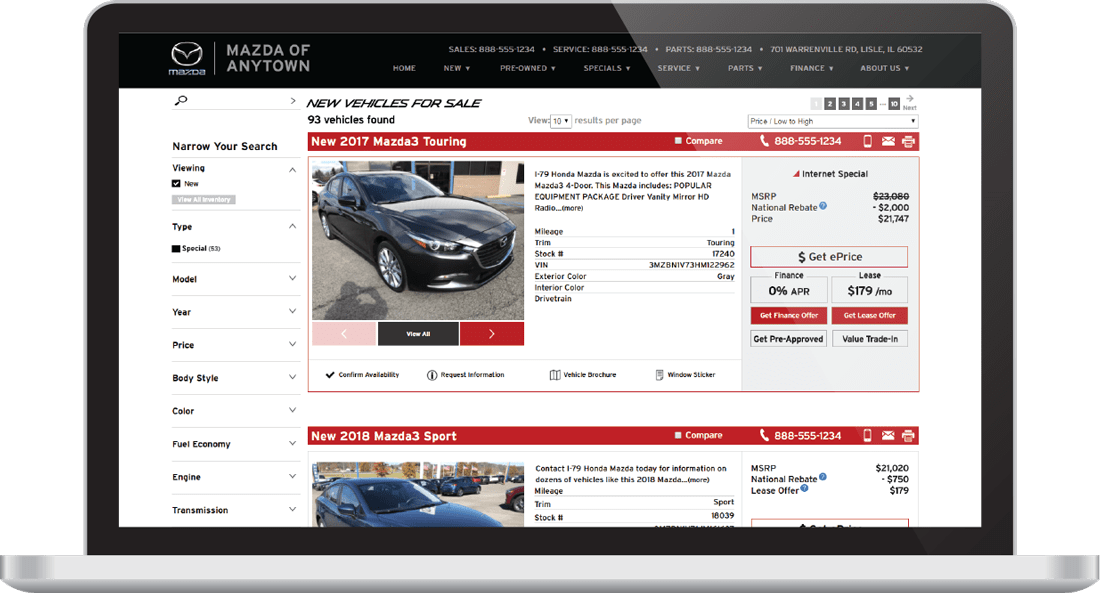 SRP (Search Results Page) for cars on a Mazda dealership website