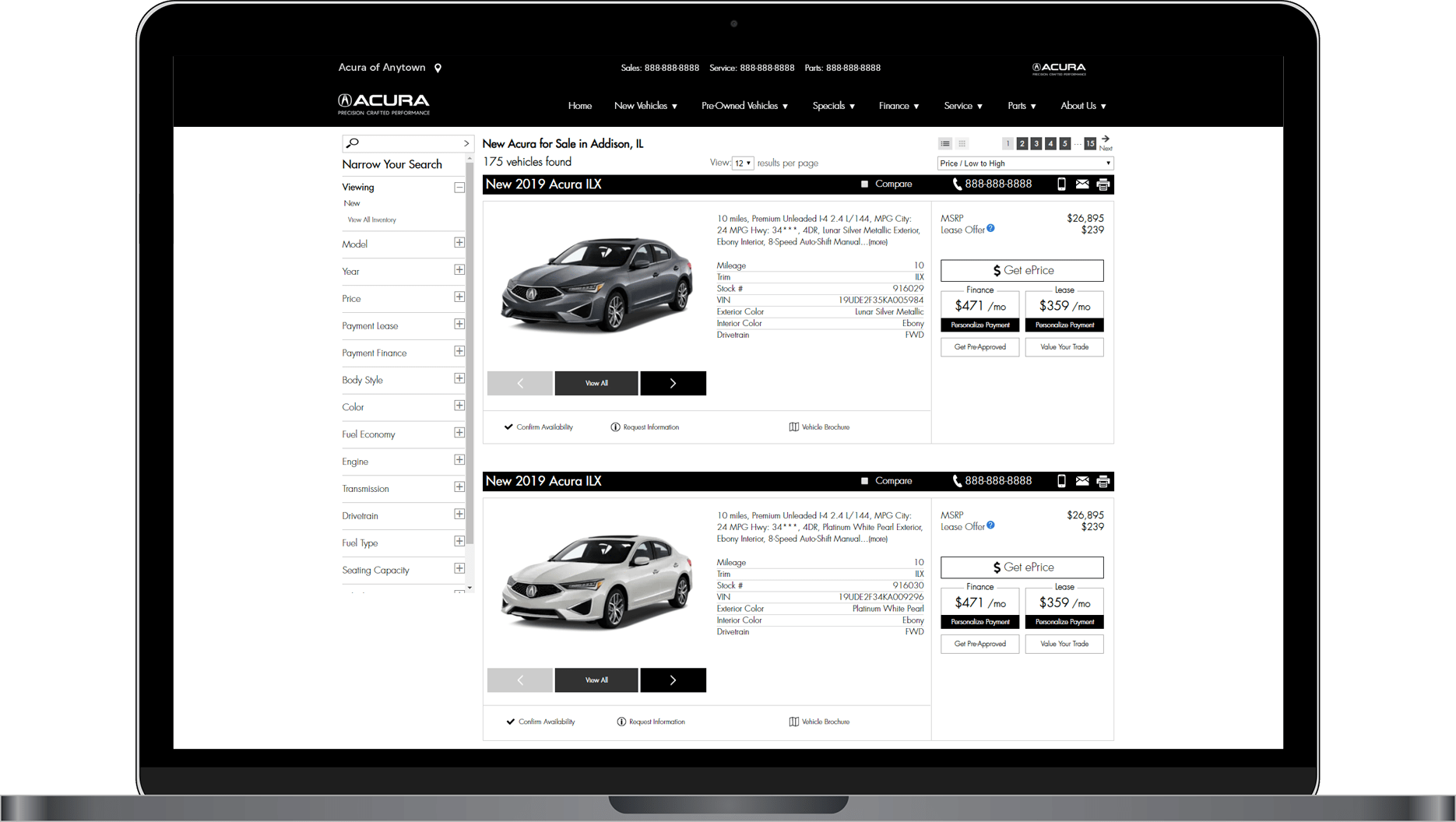 SRP for Acura website, list view