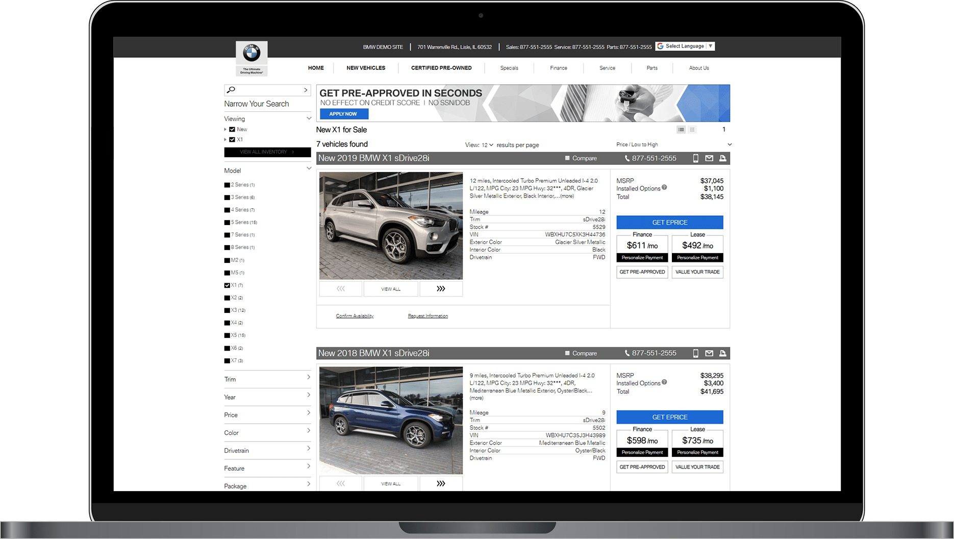 SRP in list view on BMW website