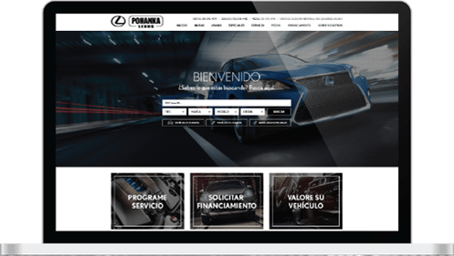 Spanish Lexus website screen image displayed on laptop mockup