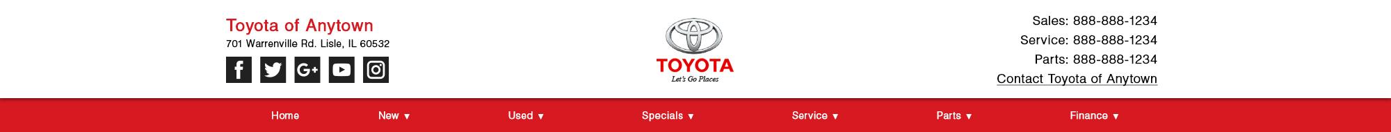 Toyota website header, option 4