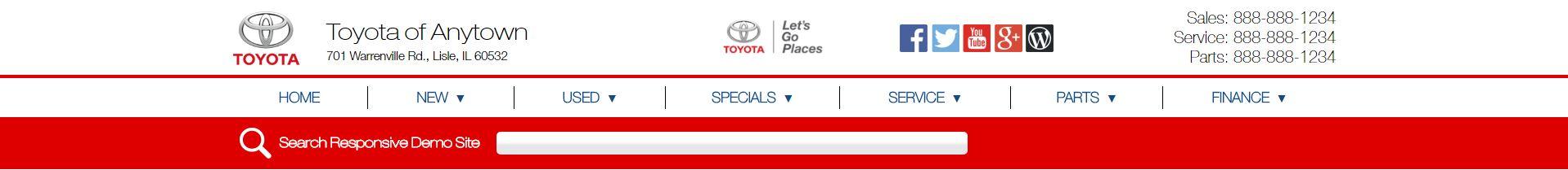 Toyota website header, option 6
