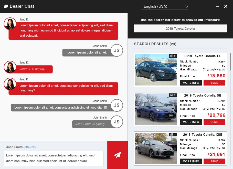 Managed chat screen on Toyota dealer website