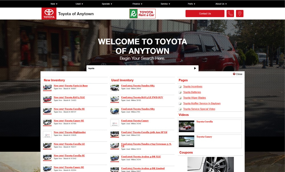 Keyword site search on Toyota dealer website