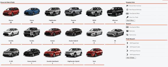 Toyota mega menus screen