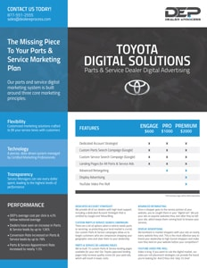 Toyota Parts & Service Digital Advertising pricing sheet