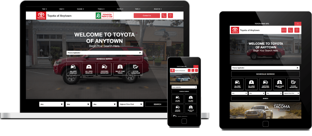 Toyota responsive websites displayed on desktop, mobile and tablet screens