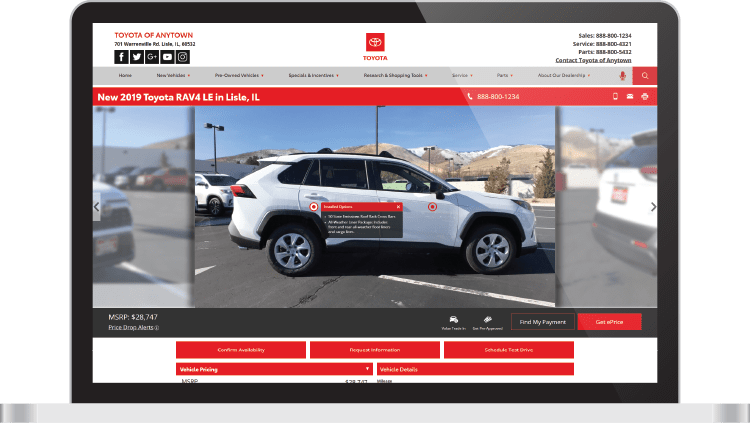 Toyota website VDP