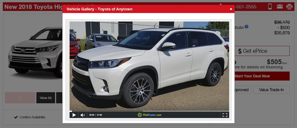 vehicle video appears on top of webpage