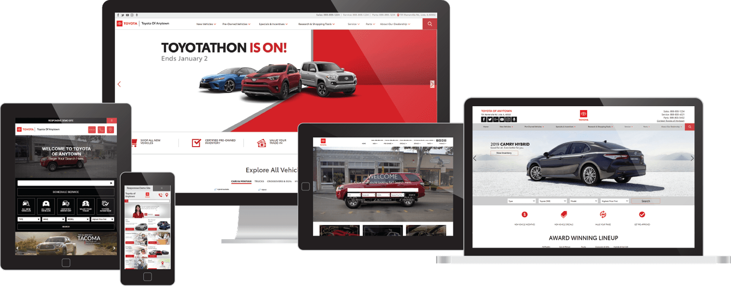 Toyota websites on desktop, tablet, and mobile device screens