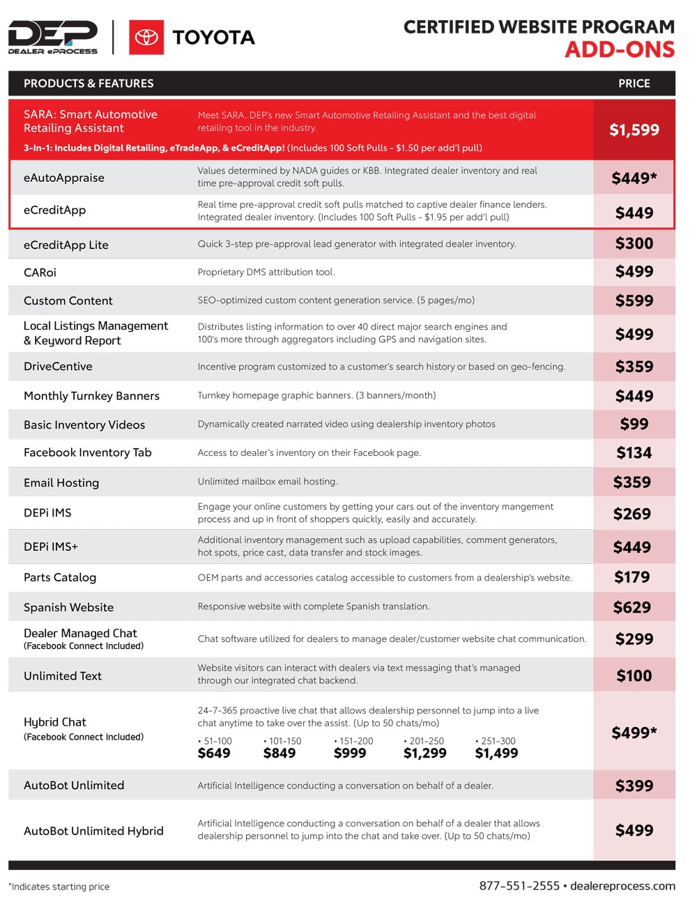 Toyota Website Program price sheet