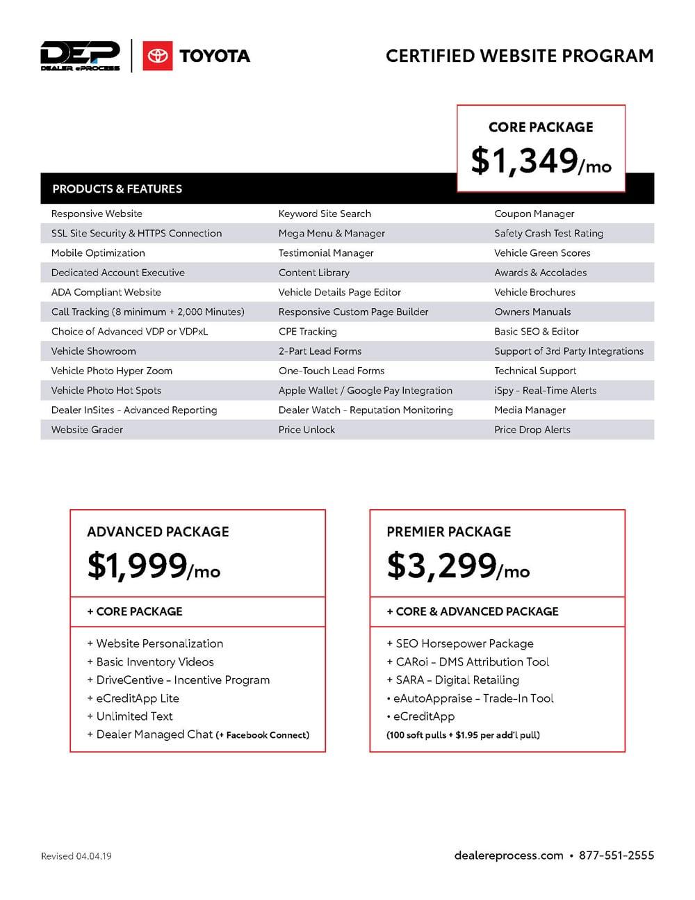 Toyota Website Program price sheet