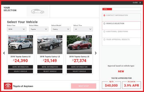 eCreditApp screen 2 of 3: select your vehicle