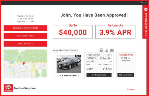 eCreditApp screen 3 of 3: finance and lease offer displays