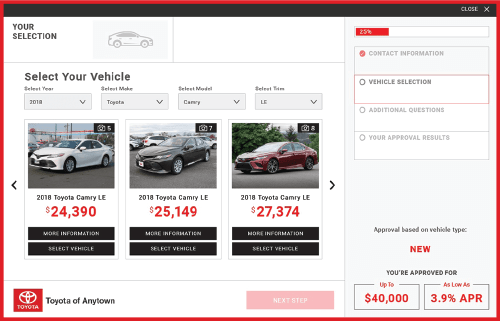 eCreditApp vehicle selection screen