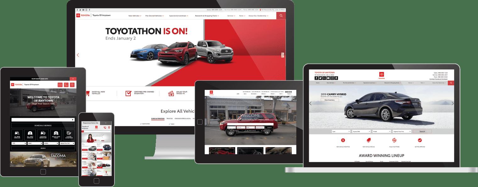 Toyota websites on device screens