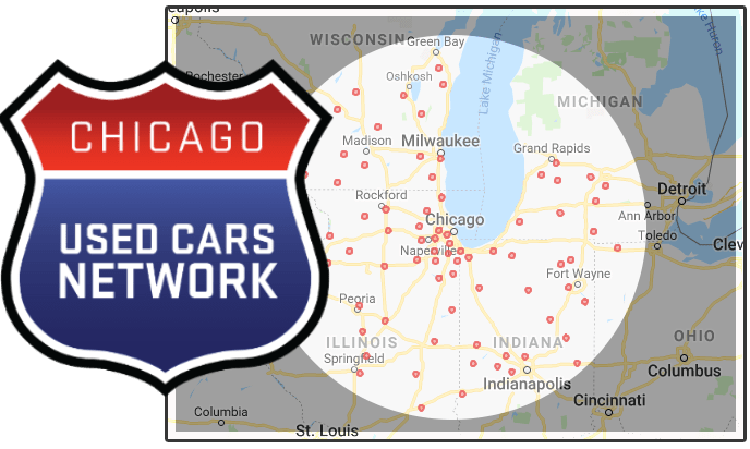 Used Cars Network map of Chicago with vehicle locations