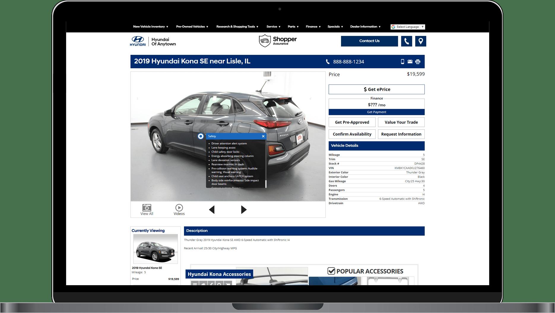 VDP showing Hyundai vehicle