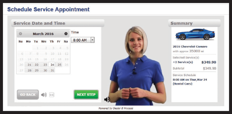 Virtual Service Consultant screen