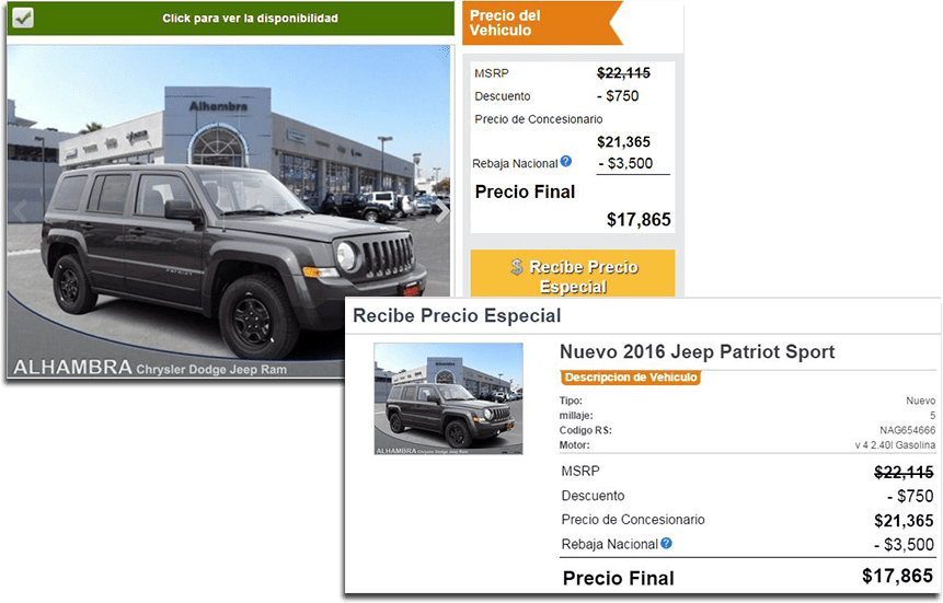 Vehicle Pricing, Spanish website