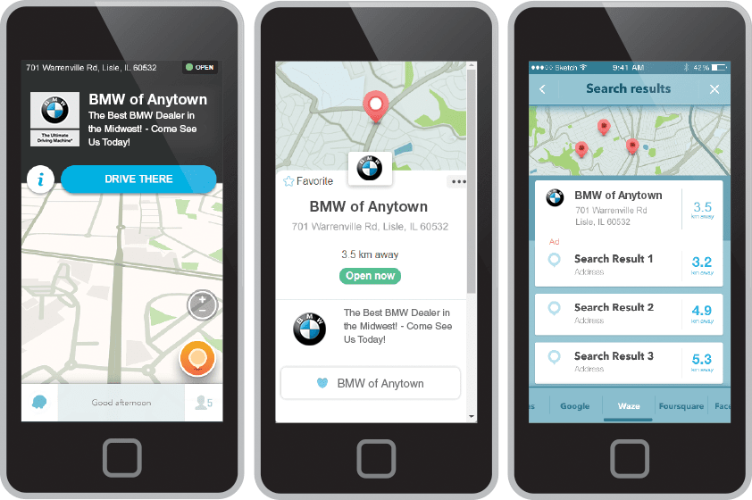 Waze advertising screens on mobile devices