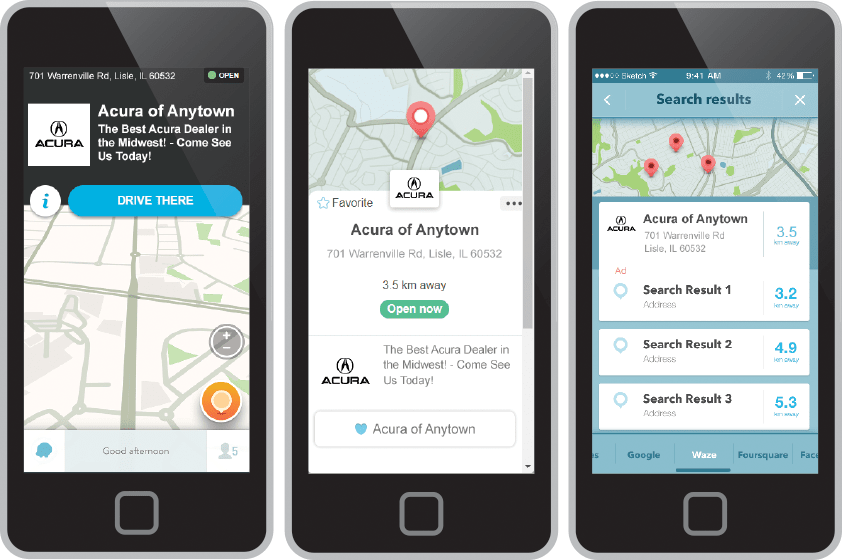 Waze advertising shown on smartphone devices