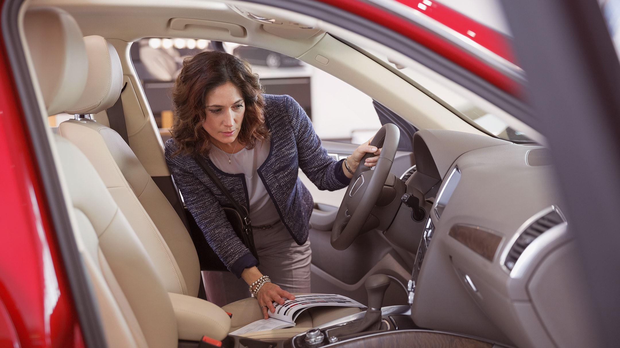 shopper views car interior