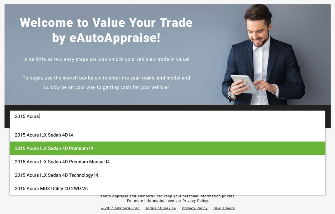eAutoAppraise screen 1: select vehicle