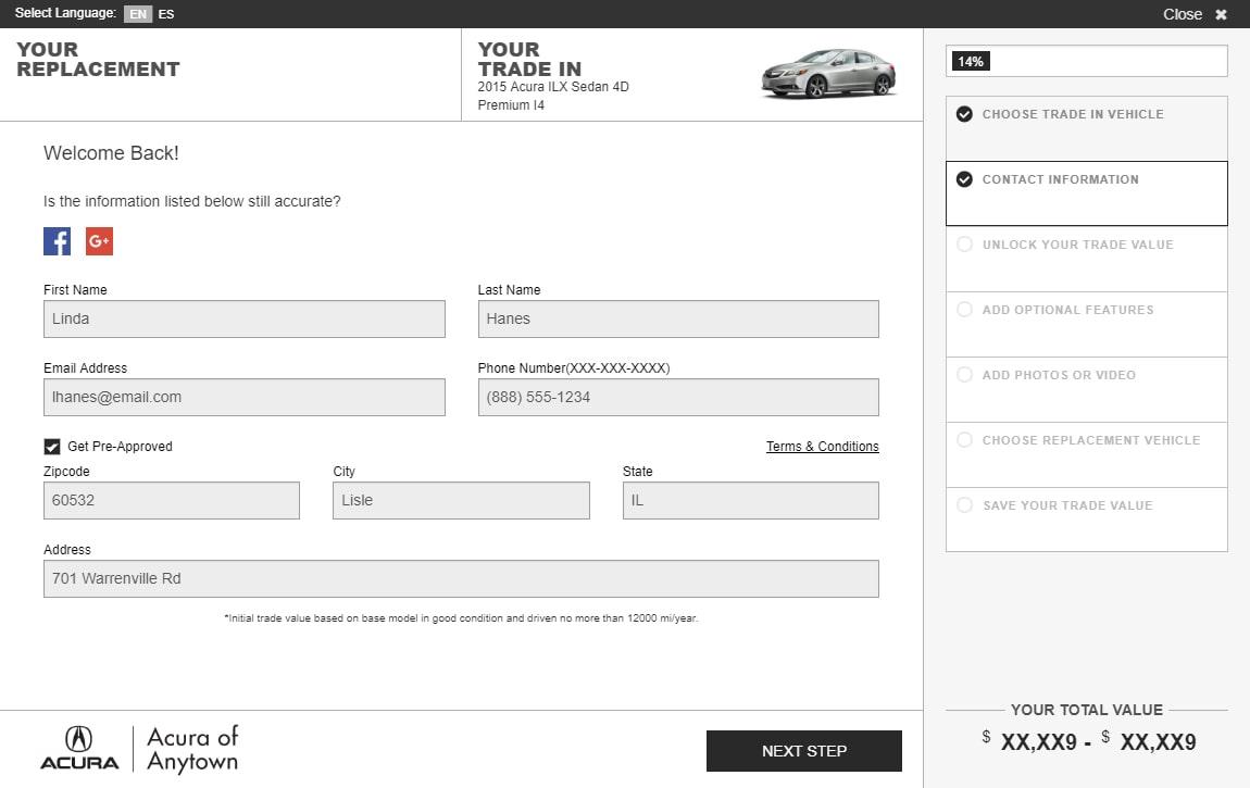 eAutoAppraise screen 2: enter replacement vehicle details
