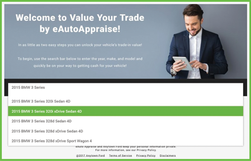 eAutoAppraise screen 1 of 3: select your vehicle