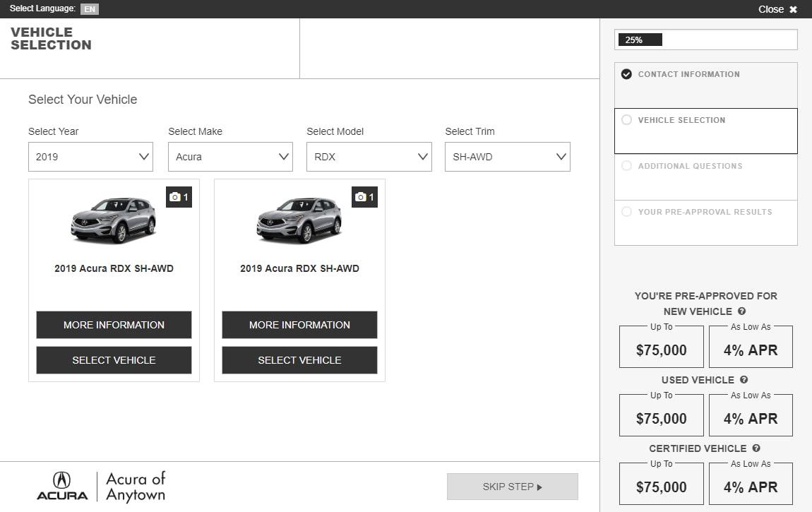 eCreditApp screen 2: select vehicle