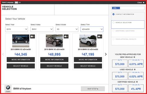 eCreditApp screen 2 of 3: vehicle selection gallery