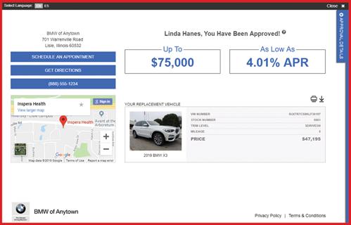 eCreditApp screen 3 of 3: finance offer screen